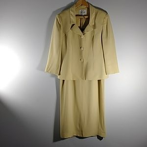 Lesuit  2pc yellow/gold skirt suit  Sz 8